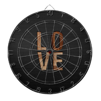 Wooden Love Typography Image Print Dartboard With Darts