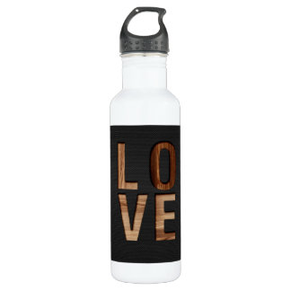 Wooden Love Typography Image Print Water Bottle