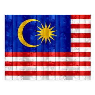 Wooden Malaysian Flag Postcard