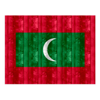 Wooden Maldivan Flag Postcard