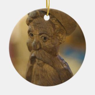 Wooden man ceramic ornament