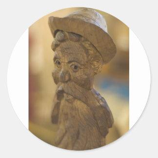 Wooden man classic round sticker