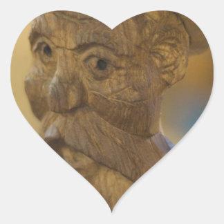 Wooden man heart sticker