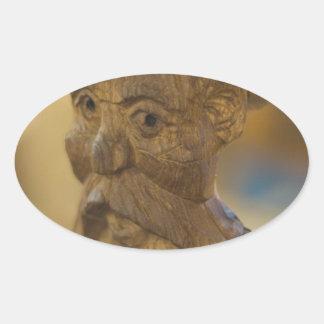 Wooden man oval sticker