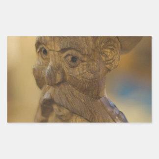 Wooden man rectangular sticker