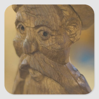 Wooden man square sticker