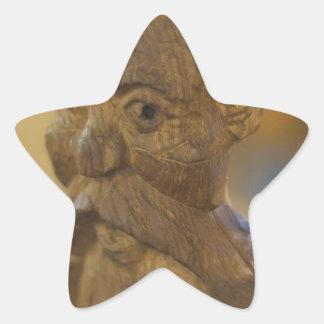 Wooden man star sticker