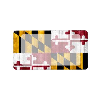Wooden Marylander Flag Personalized Address Label
