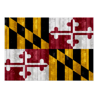 Wooden Marylander Flag Poster