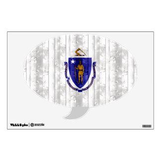 Wooden Massachusettsan Flag Wall Skin