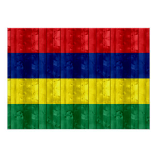 Wooden Mauritian Flag Posters