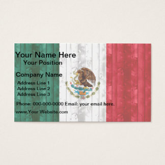 Wooden Mexican Flag Business Card
