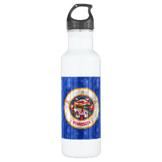 Wooden Minnesotan Flag Stainless Steel Water Bottle