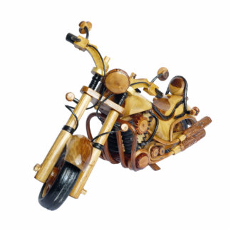 Wooden motorcycle statuette