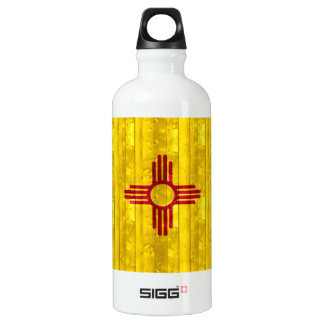 Wooden New Mexican Flag Water Bottle