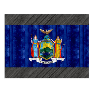 Wooden New Yorker Flag Postcard
