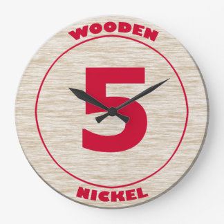 Wooden Nickel Large Clock