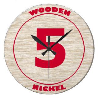 Wooden Nickel Large Clock