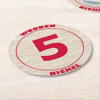 Wooden Nickel Paper Coaster