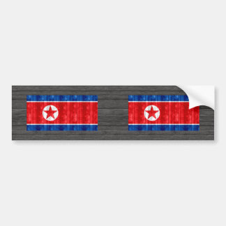Wooden North Korean Flag Bumper Sticker