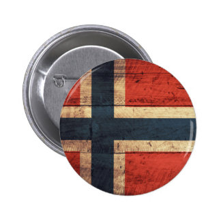 Wooden Norway Flag Pinback Button