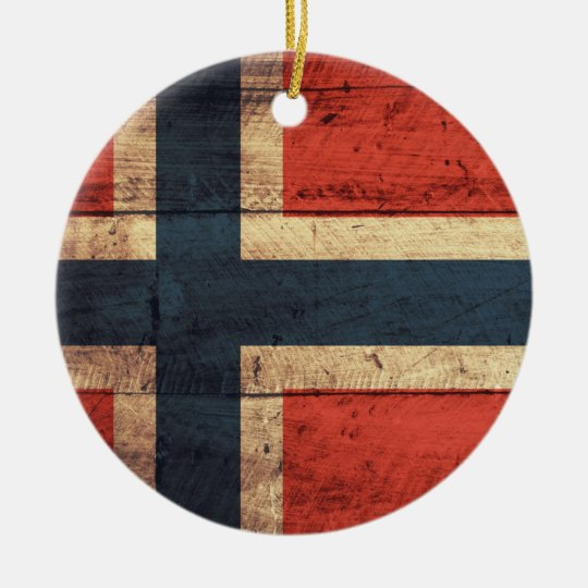 Wooden Norway Flag Ceramic Ornament