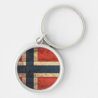 Wooden Norway Flag Key Chain