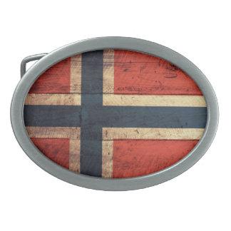 Wooden Norway Flag Oval Belt Buckle