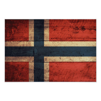 Wooden Norway Flag Poster