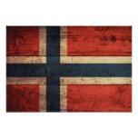 Wooden Norway Flag Print