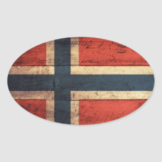 Wooden Norway Flag Oval Sticker