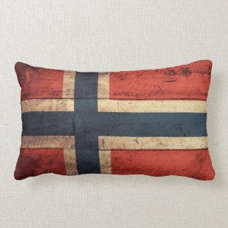 Wooden Norway Flag Throw Pillow