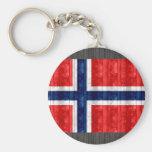 Wooden Norwegian Flag Keychain