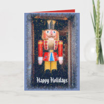WOODEN NUTCRACKER FIGURE/HAPPY HOLIDAYS HOLIDAY CARD