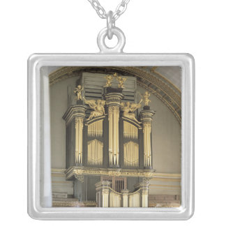 Wooden organ case, c.1685-6 silver plated necklace