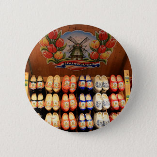 Wooden painted clogs, Holland 2 Pinback Button