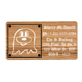 Wooden Panel 鬼 鬼 Shipping Labels 1 (Large)