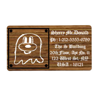 Wooden Panel 鬼 鬼 Shipping Labels 2 (Large)