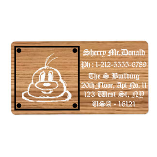 Wooden Panel 鲍 鲍 Shipping Labels 1 (Large)