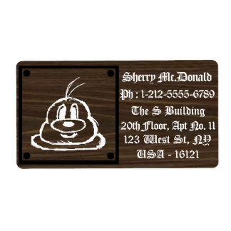 Wooden Panel 鲍 鲍 Shipping Labels 3 (Large)