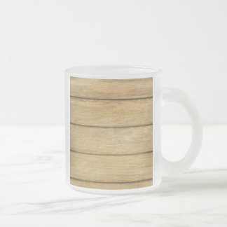 Wooden Panel Texture Frosted Glass Coffee Mug
