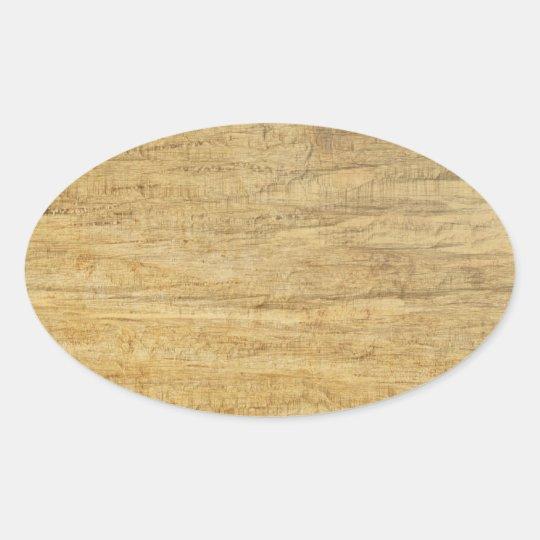 Wooden Panel Texture Oval Sticker