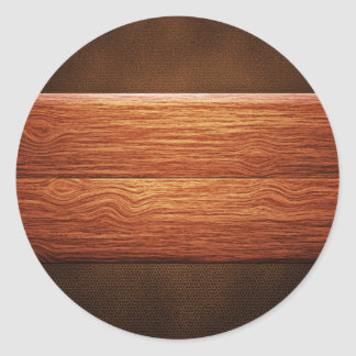 Wooden Panels On Leathery Surface Classic Round Sticker