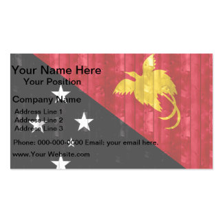 Wooden Papua New Guinean Flag Business Card Template