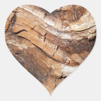 Wooden Pattern Heart Sticker