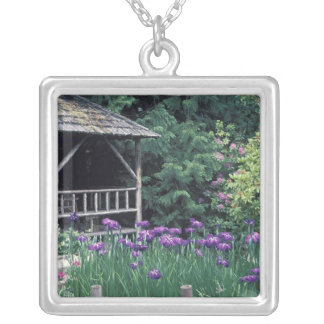 Wooden pavilion in the Sunken Garden in Square Pendant Necklace