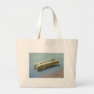 Wooden peg tote bag