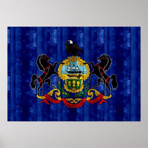 Wooden Pennsylvanian Flag Print