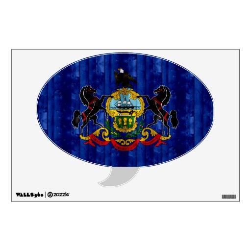 Wooden Pennsylvanian Flag Room Sticker