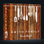 """Wooden Personalized Family Recipe Cookbook Wooden 3 Ring Binder<br><div class=""""desc"""">This is beautiful personalized recipe book full of favorite dishes, organized into one beautiful binder. Personalized with your text on the front, and featuring an original illustration of a white fork, knife, and spoon surrounded by a curly swirly border on a burlap looking background. Kitchen tools Recipe binder would be...</div>"""